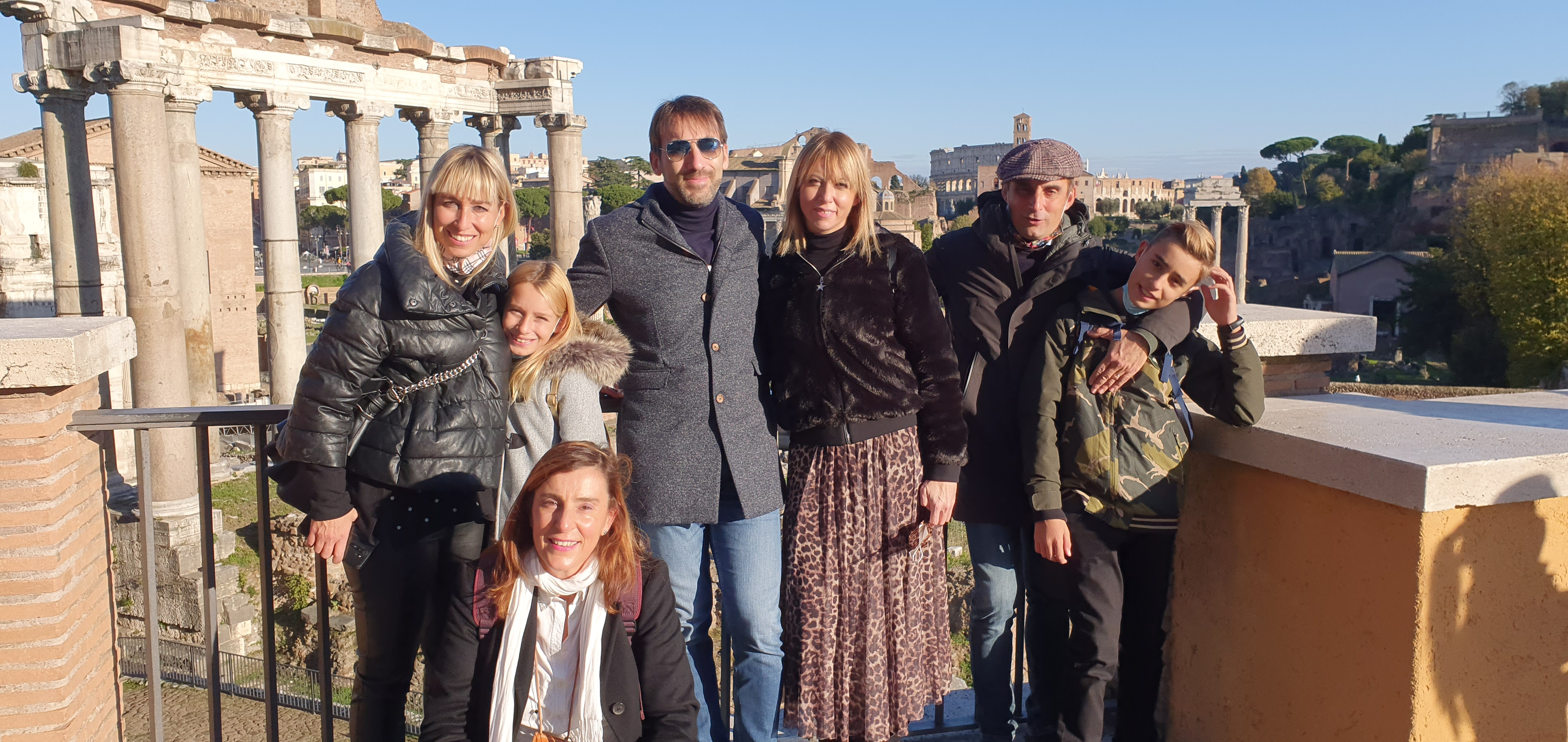 The Roman Forum and Laconi family, Elisa and Agostino